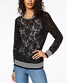 I.N.C. Varsity Lace Sweater, Created for Macy's