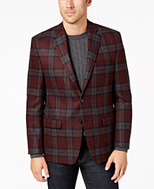 Lauren Ralph Lauren Men's Classic-Fit UltraFlex Stretch Burgundy/Gray Tartan Plaid Wool Sport Coat