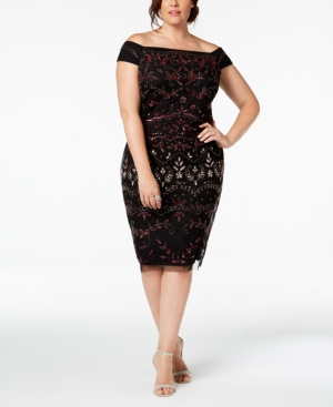 Adrianna Papell Plus Size Embellished Off-The-Shoulder Dress