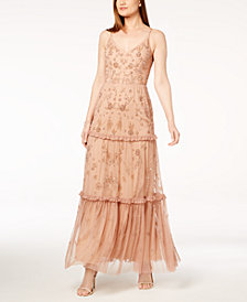 Adrianna Papell Beaded Tiered Dress