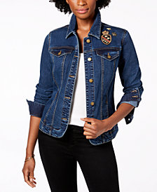 Charter Club Embellished Patch Denim Jacket, Created for Macy's