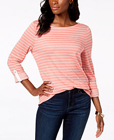Charter Club Striped 3/4-Sleeve Top, Created for Macy's