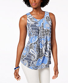 Charter Club Sleeveless Paisley-Print Top, Created for Macy's