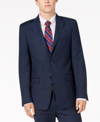 Men's Slim-Fit Stretch Blue/Charcoal Birdseye Suit Jacket