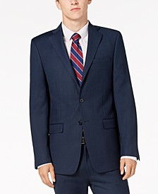 Men's Slim-Fit Stretch Blue/Charcoal Birdseye Suit Jacket