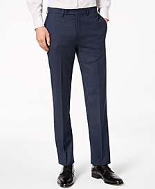 Men's Slim-Fit Stretch Blue/Charcoal Birdseye Suit Pants