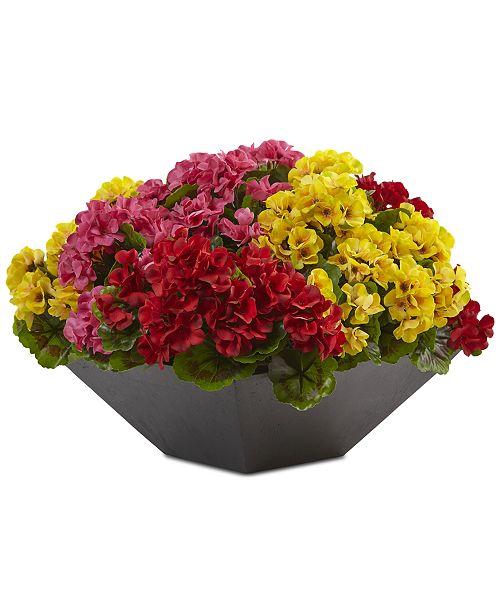 "Nearly Natural 15"" Geranium UV-Resistant Indoor/Outdoor Artificial Plant in Black Planter"