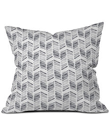 Deny Designs Little Arrow Design Co Watercolor Feather in Grey Throw Pillow