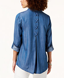 Style & Co Embroidered Button-Front Shirt, Created for Macy's