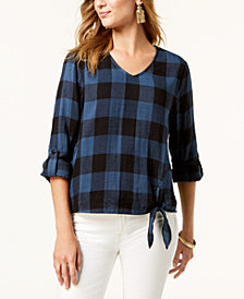 Style & Co Petite Plaid Cuffed-Sleeve Top, Created for Macy's