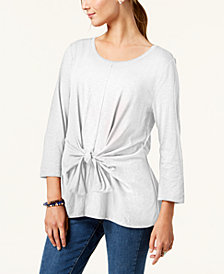 Style & Co Petite Tie-Front Top, Created for Macy's