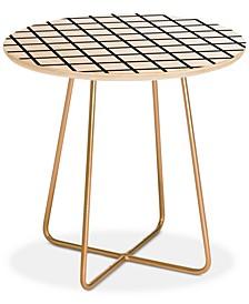 Little Arrow Design Co monochrome grid Round Side Table