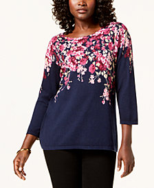 Karen Scott Petite 3/4-Sleeve Sweater, Created for Macy's
