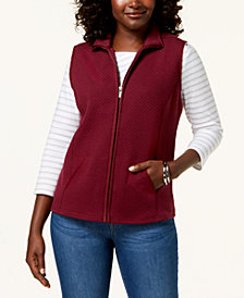 Karen Scott Petite Mini-Quilt Fleece Vest, Created for Macy's