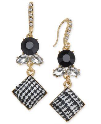 I.N.C. Gold-Tone Stone & Tweed Drop Earrings, Created for Macy's