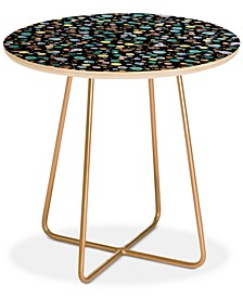 Ninola Design Galaxy Constellation Dots Planets Blue Round Side Table