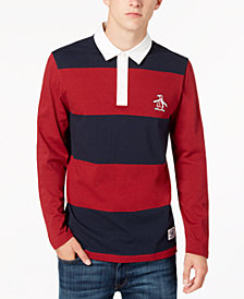 Original Penguin Men's Long-Sleeve Striped Polo, Created for Macy's