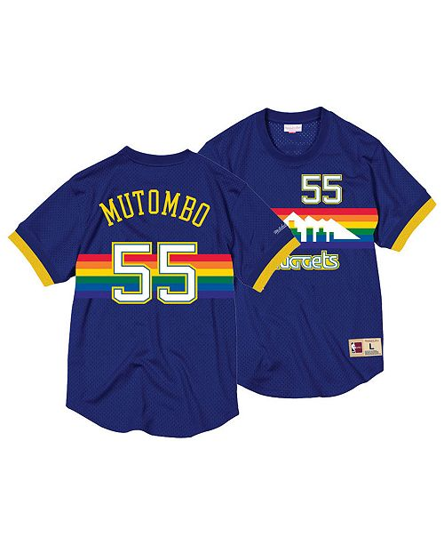 4515a06330a ... Crewneck Jersey  Mitchell   Ness Men s Dikembe Mutombo Denver Nuggets  Name and Number Mesh Crewneck ...