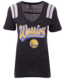 5th & Ocean Women's Golden State Warriors Shoulder Stripes T-Shirt