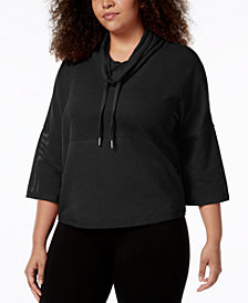 Calvin Klein Performance Plus Size Cowl-Neck Cropped Top
