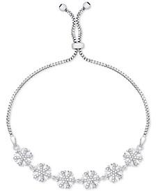 Diamond Accent Snowflake Slider Bracelet in Fine Silver-Plate