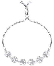 Diamond Accent Snowflake Slider Bracelet in Fine Silver-Plate