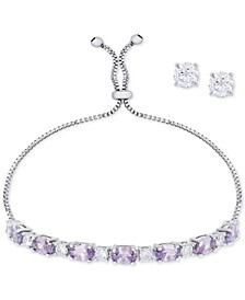 Simulated Amethyst Slider Bracelet & Cubic Zirconia Stud Earrings Set In Fine Silver-Plate, February Birthstone