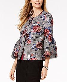 Alfani Printed Bubble-Sleeve Jacket, Created for Macy's