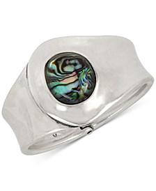 Silver-Tone Stone Cuff Bracelet