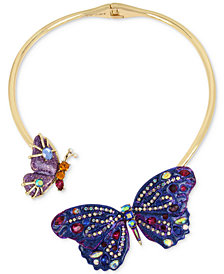 "Betsey Johnson Gold-Tone Glittery Stone Butterfly 16"" Collar Necklace"