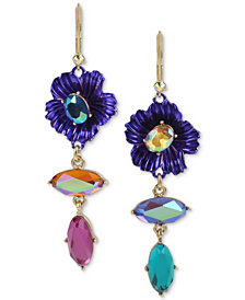 Betsey Johnson Two-Tone Stone Flower Mismatch Drop Earrings