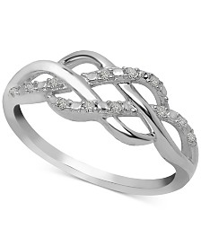 Diamond Open Weave Ring (1/10 ct. t.w.) in Sterling Silver