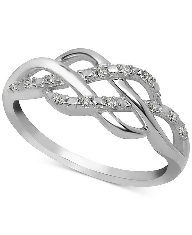 Macy's Diamond Open Weave Ring (1/10 ct. t.w.) in Sterling Silver