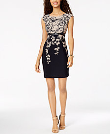 Connected Petite Belted & Floral Printed Sheath Dress