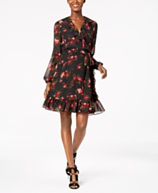 Nine West Floral Ruffled Wrap Dress, Created for Macy's