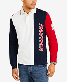Nautica Men's Colorblocked Long-Sleeve Polo, Created for Macy's