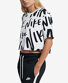 Nike Sportswear Cotton Logo-Print Cropped Top