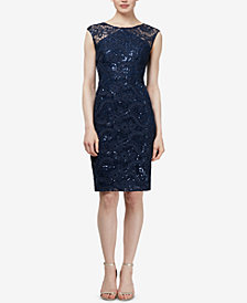 SL Fashions Sequin-Embellished Sheath Dress