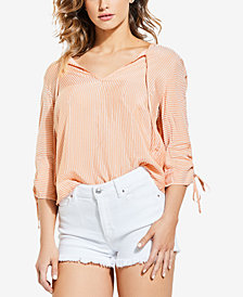 GUESS Lynn Embroidered Ruched-Sleeve Top