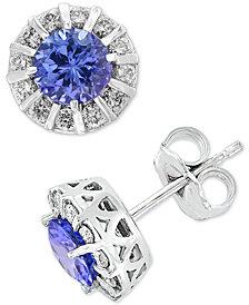 Amoré by EFFY® Sapphire (1-1/8 ct. t.w.) & Diamond (1/3 ct. t.w.) Stud Earrings in 14k White Gold (Also available in Ruby, Emerald & Tanzanite)