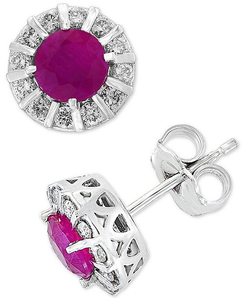 EFFY Collection EFFY® Certified Ruby (1-1/8 ct. t.w.) & Diamond (1/3 ct. t.w.) Stud Earrings in 14k White Gold (Also available in Sapphire, Emerald & Tanzanite)