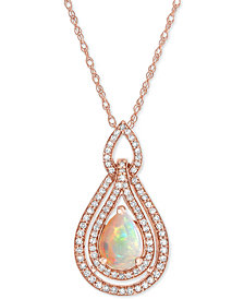 "Opal (3/8 ct. t.w.) & Diamond (1/3 ct. t.w.) 18"" Pendant Necklace in 14k Rose Gold"