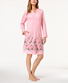 Charter Club Floral-Border Cotton Robe, Created for Macy's
