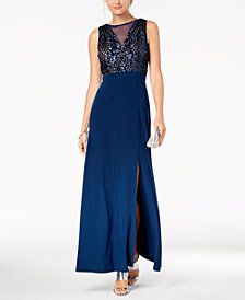 Nightway Sequined A-Line Gown