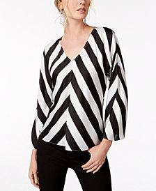 I.N.C. V-Neck Striped Wide-Sleeve Top, Created for Macy's