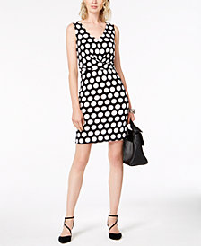 I.N.C. V-Neck Dot-Print Dress, Created for Macy's