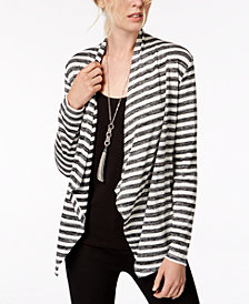 I.N.C. Striped Open Draped Cozy Cardigan, Created for Macy's