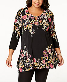 JM Collection Plus Size Embroidered Keyhole Tunic, Created for Macy's