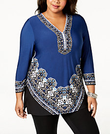 JM Collection Plus Size Printed V-Neck Tunic, Created for Macy's