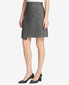 DKNY Menswear Grid Asymmetric Crossover Skirt, Created for Macy's